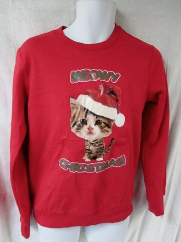 NEW MORPHSUITS Digital Dudz MEOWY CHRISTMAS Ugly Holiday Sweater RED S