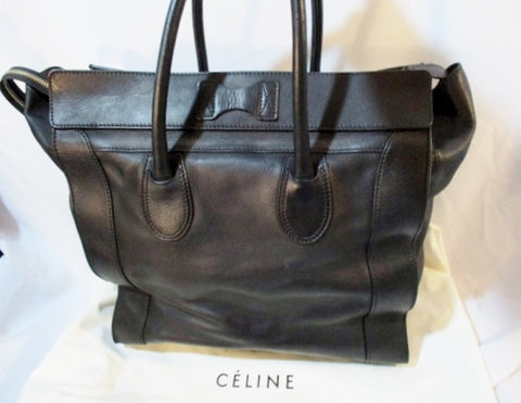 CELINE PARIS ITALY Leather MEDIUM SHOPPER Tote Bag BLACK Duffel Purse