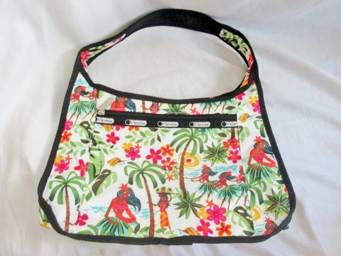 NEW LESPORTSAC Nylon shoulder bag purse hobo TROPICAL FLORAL Vegan Le Sport Sac
