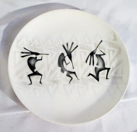 "Signed ARTIST ""WAVING"" Ceramic Pottery 10"" SERVING Plate Southwestern Ethnic Native"