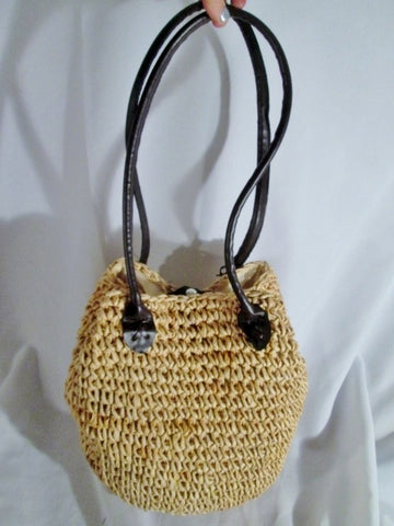 NEW CHARTER CLUB Woven STRAW Basket Tote Satchel Shoulder Bag Market BEIGE Purse