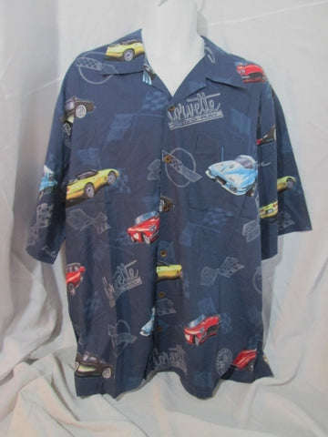 NEW NWT Mens DAVID CAREY ORIGINALS GM CORVETTE CAR Shirt 2XL Blue Button Up