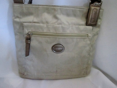 COACH F77408 GETAWAY Jacquard Signature Shoulder Bag Crossbody Swingpack Purse KHAKI ECRU