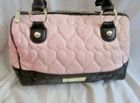 BETSEY JOHNSON Quilted Vegan Satchel Bowler Bag Heart Duffle PINK BLACK Hipster