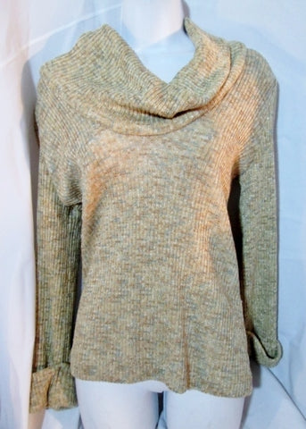 Vintage Womens HERMAN MARCUS DALLAS Cowl Neck Sweater BEIGE S Pullover Top