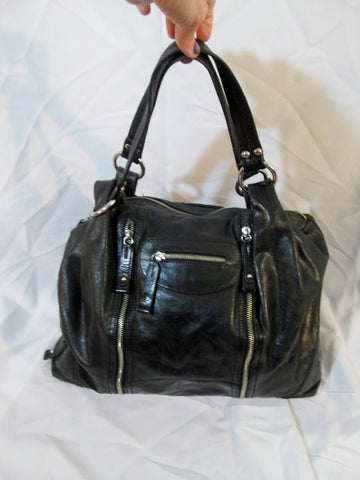 TANO HANDBAGS Leather TOTE Purse Saddle Bag Satchel Purse Duffel BLACK Boho