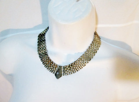 Vintage Woven Metal Steampunk Chainmail Runway NECKLACE Choker Collar SILVER