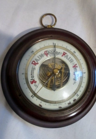 Vintage ANTIQUE WESTERN GERMANY Rain Barometer Wood Brass Nautical Rustic Primitive