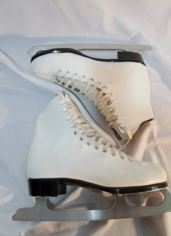 EUC Womens Ladies LANGE LIBRA Figure Ice Skates White Leather 7 Competition