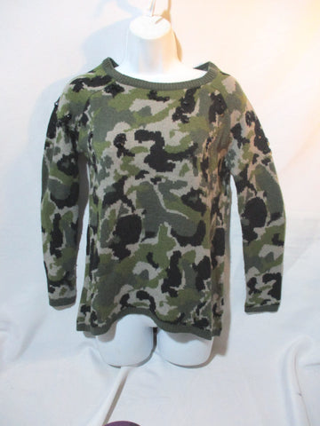 ZARA KNIT CAMO CAMOUFLAGE Sweater Jumper M GREEN GRAY BLACK
