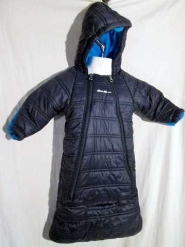 EDDIE BAUER INFANT BABY Puffer One Piece Jacket Coat BLUE NAVY Snowsuit 6-9 Months