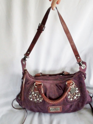 MARCIANO STUDDED suede leather satchel bag tote purse PURPLE crossbody