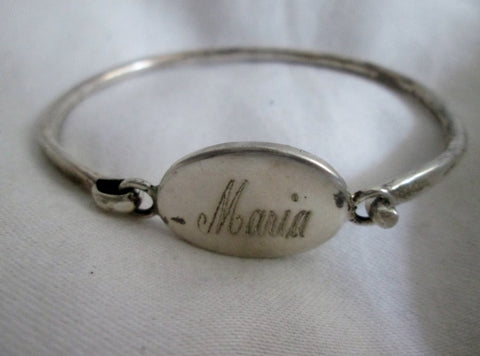 Monogram MARIA 925 STERLING SILVER Bracelet Cuff Bangle Hinged 17g Statement