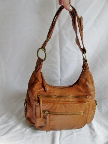 ARTURO NEW YORK leather satchel shoulder hobo saddle bag BROWN pockets purse western