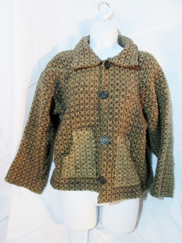 Womens Handmade BOLIVIA Wool Knit Sweater Cardigan Ethnic S BROWN BLACK Pockets