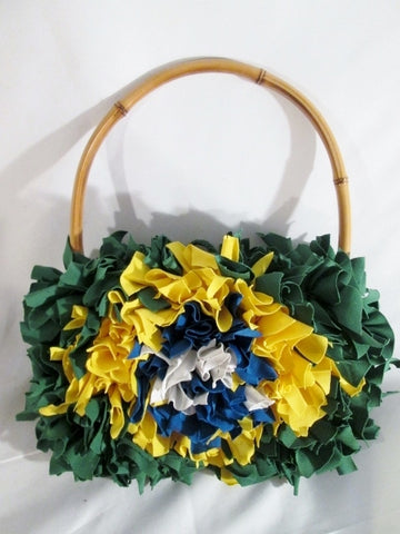 BRAZIL Rag Bag Hippie Festival Loop Hoop Handle Vegan Bag GREEN Purse Floral