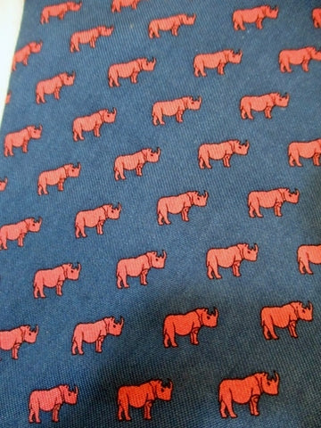 Mens VINEYARD VINES Handmade USA Silk NECK TIE RHINO RHINOCEROS BLUE Pink