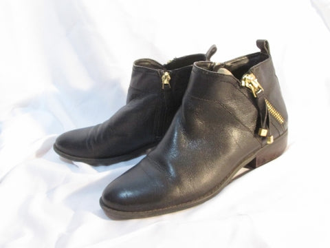 Womens FRANCO SARTO SONDRA Leather Ankle Boot Booties Shoe BLACK 7.5