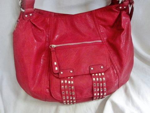 JESSICA SIMPSON vegan STUD shoulder bag clutch satchel tote hobo RED L