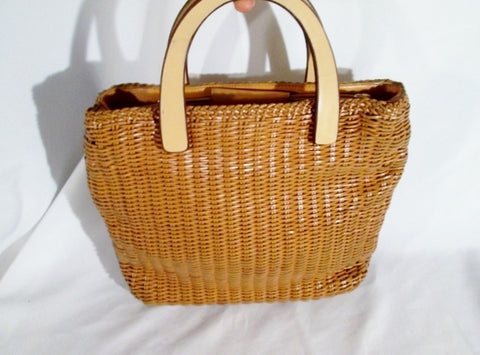 FOSSIL Woven LEATHER Tote Market Bag Satchel Shopper Shoulder Purse BEIGE BROWN