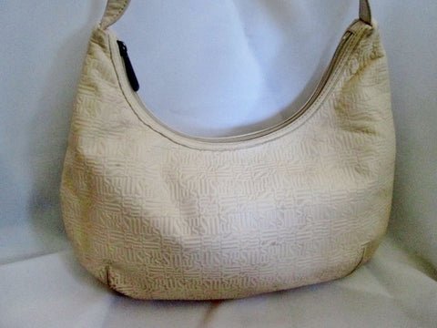 STONE MOUNTAIN signature logo SM leather shoulder bag hobo purse WHITE ECRU