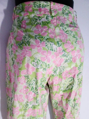 Womens LILLY PULITZER Cotton Capri Cropped Pants TIGER FLORAL PINK GREEN 4 Preppie