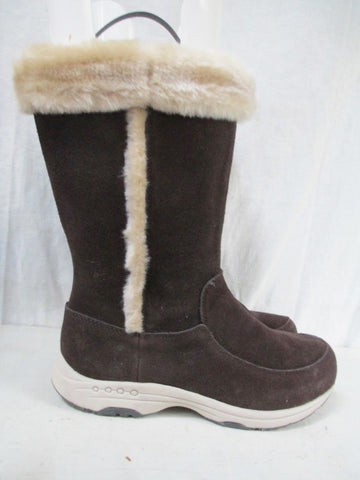 NEW Womens EASY SPIRIT TOPMASTERT Suede LEATHER Winter BOOTS Shoes BROWN 8.5 Lined