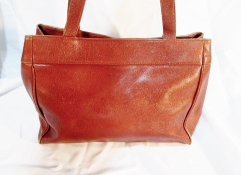 Vintage BLOOMINGDALE'S Leather TOTE Satchel Carryall Bag Shoulder BROWN