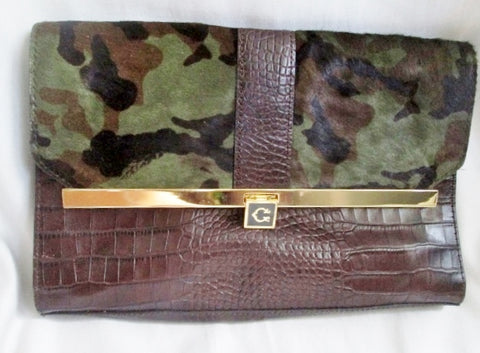 """C"" camo calf fur crocodile Leather Clutch Case Purse Organizer BROWN GREEN Hair"