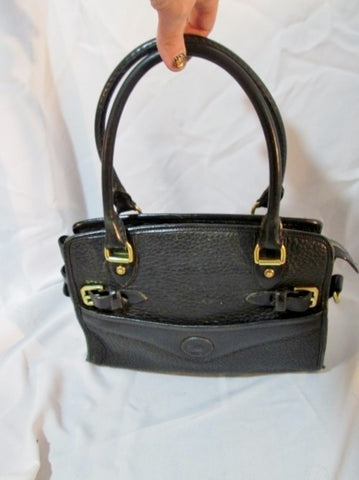 Vintage DOONEY & BOURKE ALL WEATHER LEATHER satchel tote saddle bag BLACK POCKETS purse