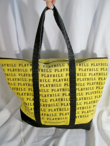 PLAYBILL BROADWAY SHOW PLAY Shoulder Book School Bag Tote Carryall Shopper YELLOW