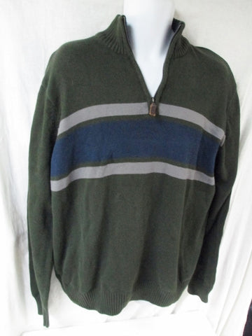 EUC Mens EDDIE BAUER Knit Ski Holiday SWEATER Top Half Zip XXL GREEN BLUE