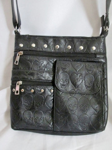 SKULL BROKEN HEART STUD Shoulder Flap Bag Man Purse Messenger Crossbody BLACK Goth