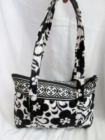 VERA BRADLEY NIGHT & DAY Vegan Quilted Purse Tote Bag Shopper BLACK WHITE