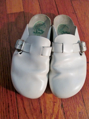 Womens DR. BRINKMANN GERMANY Suede Leather Clogs Shoes Slip-On 6 CREME WHITE