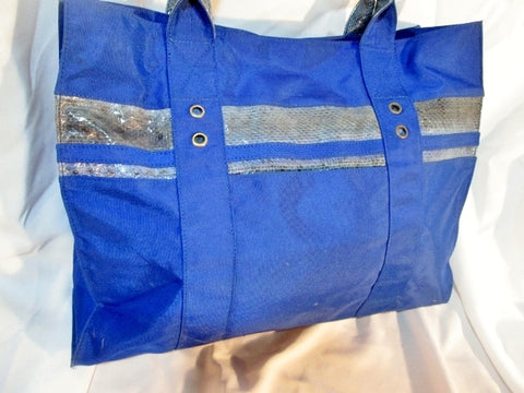 BEIRN SPORT Snakeskin Python Leather Nylon ROYAL BLUE TOTE SHOPPER CARRYALL