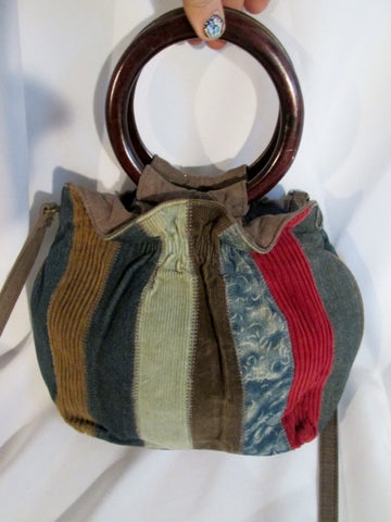 FOREVER FOSSIL vegan cloth striped patchwork satchel hobo bag tote loop hoop boho key