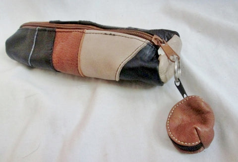 NEW GLOVE LEATHER PATCHWORK Barrel Pouch Bag Coin Purse BLACK BROWN w Mini