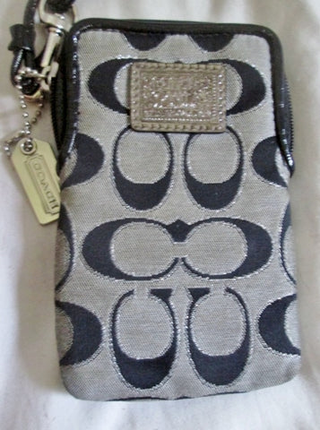 COACH POPPY Jacquard Signature C Wristlet BLACK GRAY Wristlet Coin Purse Wallet