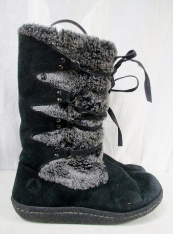 Womens AIRWALK LEATHER Suede Winter MUKLUK BOOTS Shoes BLACK 8.5 Lace Up