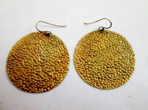 "Signed 925 ROUND 1.75"" CIRCLE Pierced Earring DISC Statement GOLD Textured BUBBLE"