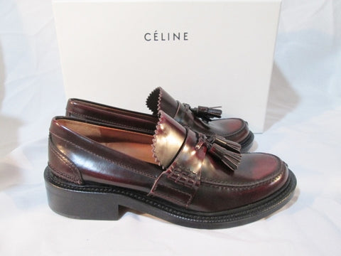 NEW Womens CELINE PARIS LOAFER Flat Moc Moccasin 25 Shoe 37 6.5 BURGUNDY Leather