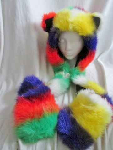 FUZZY HAT CAT Scarf Play Costume Halloween Cosplay Fun Party Horns Plush Goofy MULTI