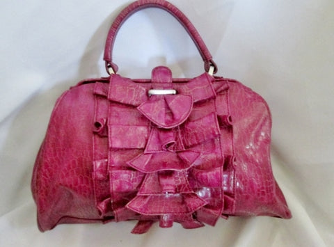 JESSICA SIMPSON Ruffle Bag Purse PURPLE VEGAN Croc Reptile Skin Satchel Bowler Clutch