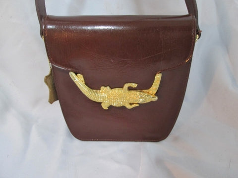 GOLD ALLIGATOR CROCODILE CROC ANIMAL Crossbody Shoulder Bag BROWN Leather