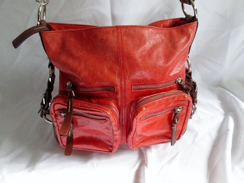TANO Leather Shoulder Saddle Bag Satchel Purse Hobo Purse RED Pockets Handbag