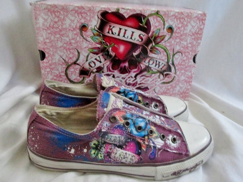 Womens ED HARDY TIEDYE Lowrise Sneaker Trainer Sports Shoe 9 PURPLE