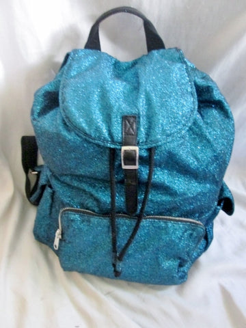 NEW RUUM Vegan GLITTER BACKPACK Shoulder Rucksack Travel Book BAG METALLIC BLUE
