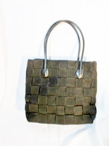 SEATBELT BAG Italy Woven TOTE Bag Shoulder Bag Shopper BLACK Carryall Vegan