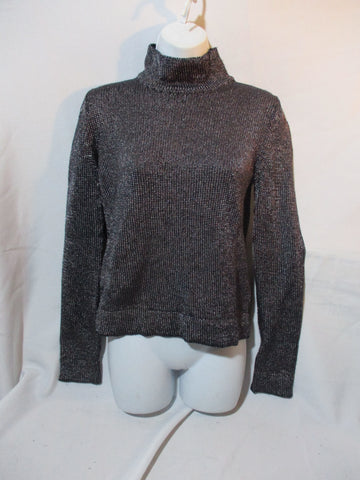 JIL SANDER Turtleneck Glitter Top Sweater 38 / 6 BLACK SILVER GLAM Womens